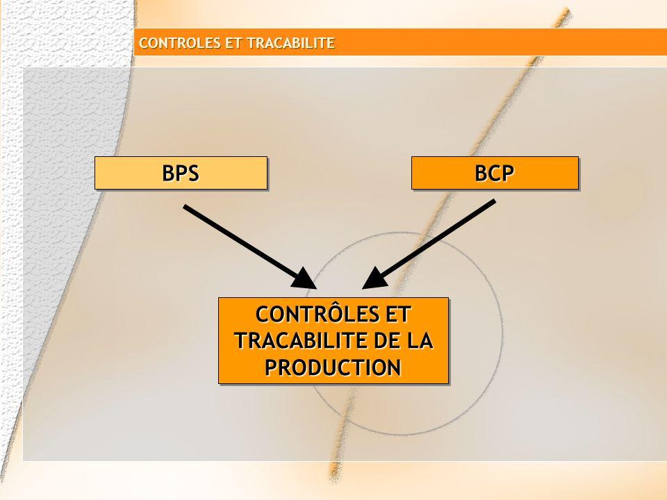 CONTRÔLES ET TRACABILITE DE LA PRODUCTION