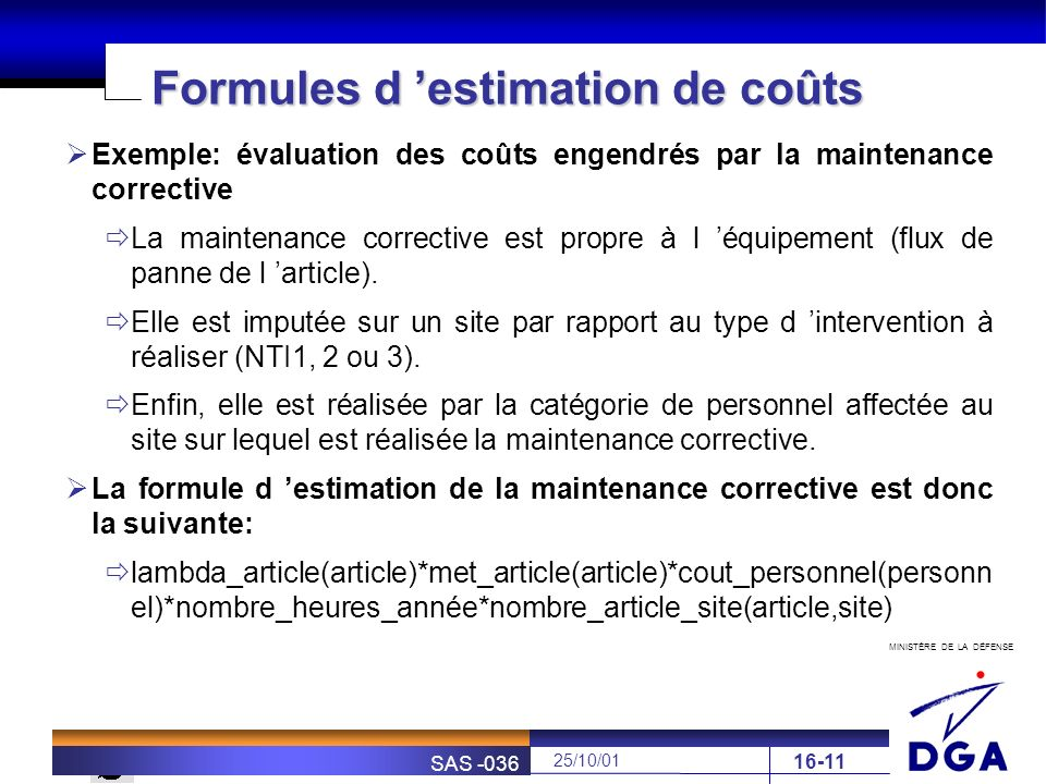 Formules d 'estimation de coûts