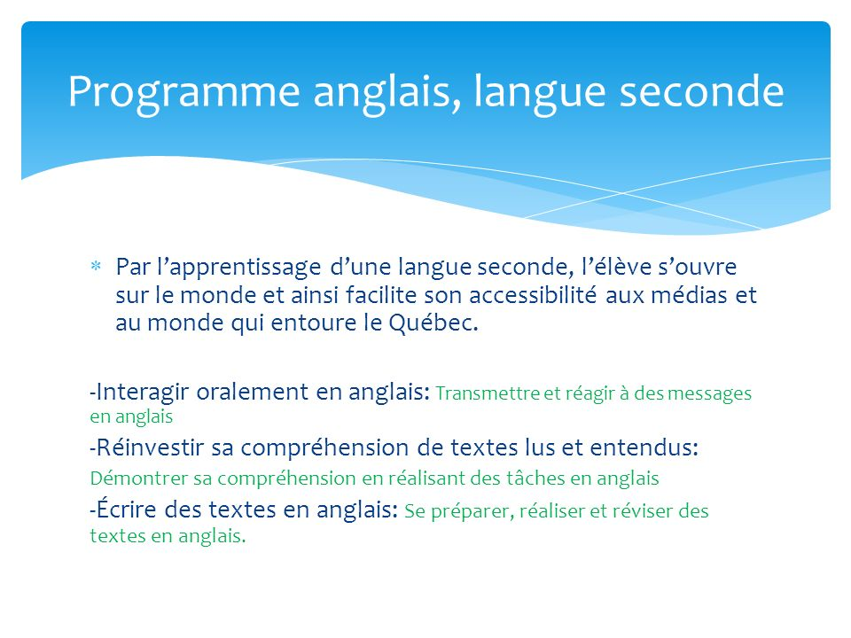 Programme anglais, langue seconde