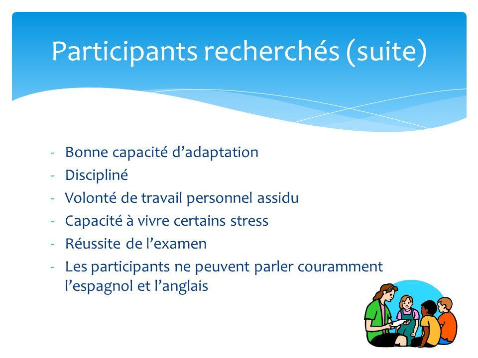 Participants recherchés (suite)