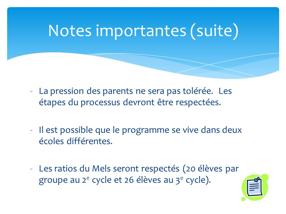 Notes importantes (suite)