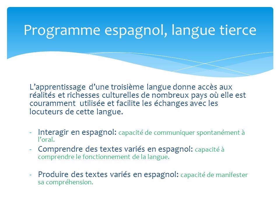 Programme espagnol, langue tierce