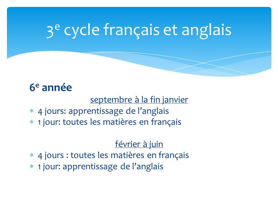 3e cycle français et anglais
