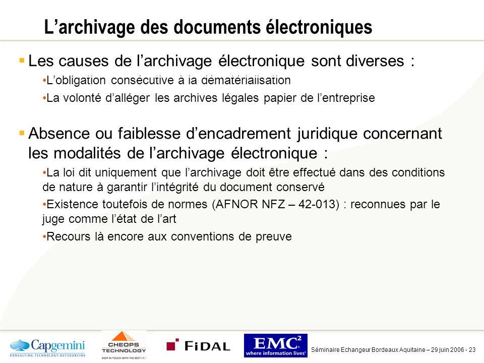 L'archivage des documents électroniques