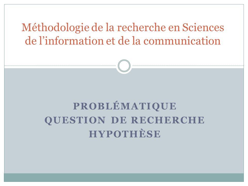 Problématique Question de recherche Hypothèse
