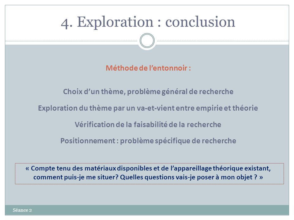 4. Exploration : conclusion