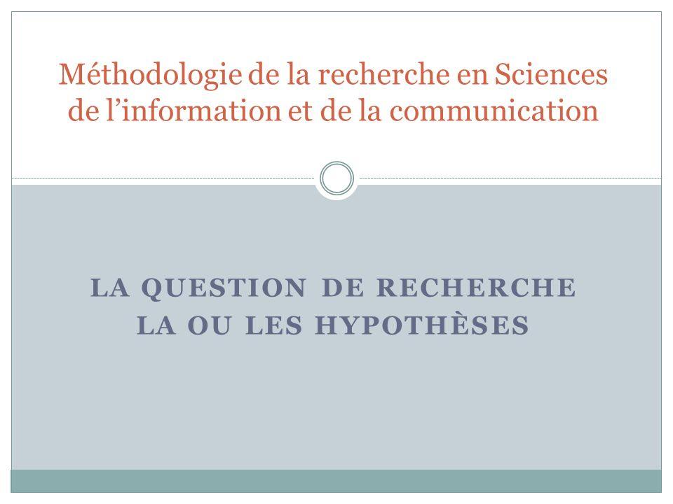 La Question de recherche la ou les hypothèses