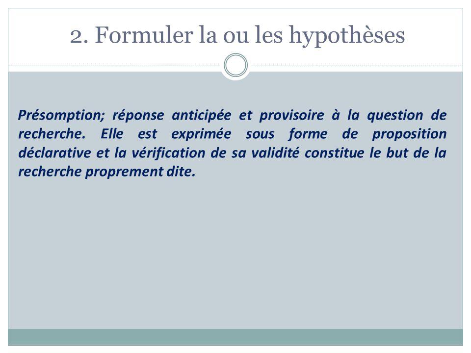 2. Formuler la ou les hypothèses