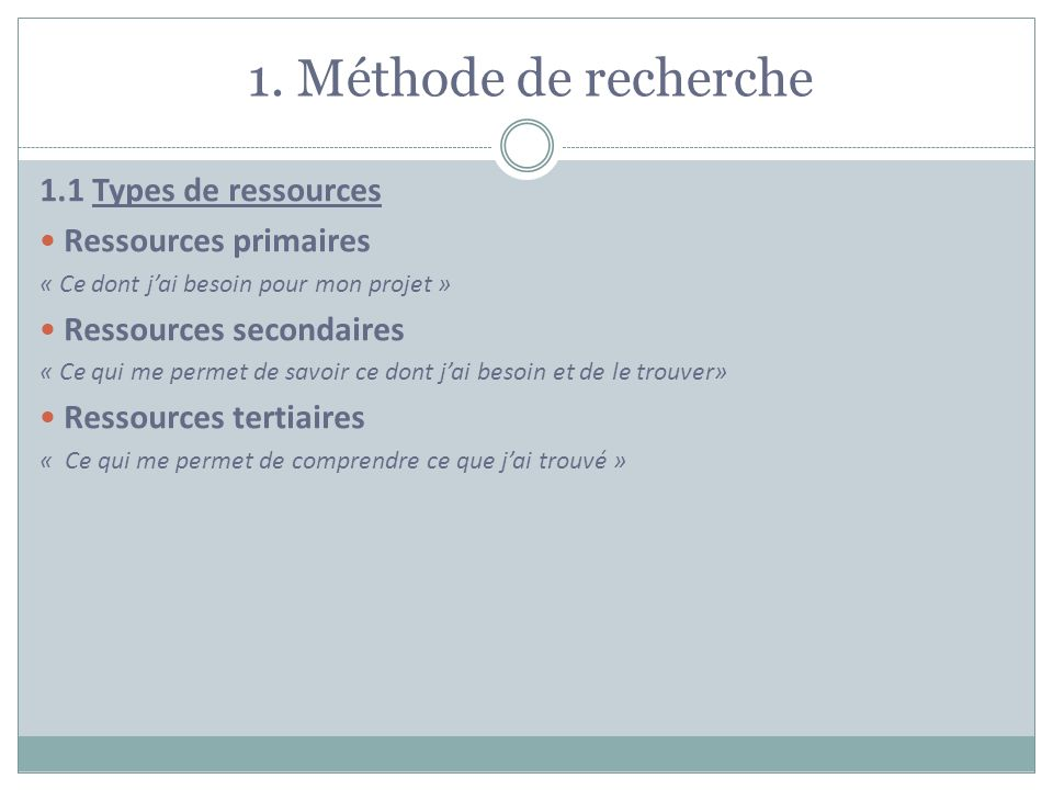1. Méthode de recherche 1.1 Types de ressources Ressources primaires