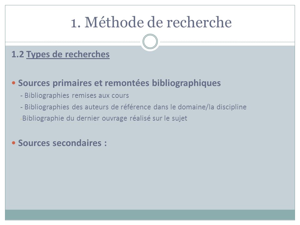 1. Méthode de recherche 1.2 Types de recherches