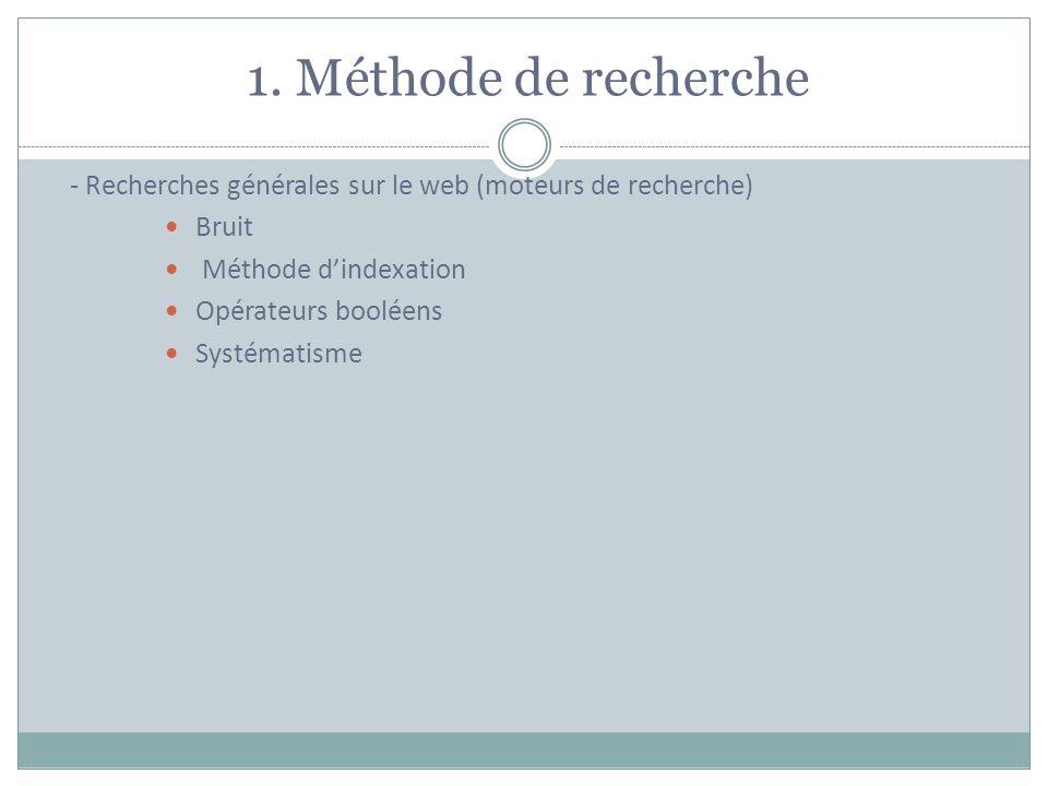 1. Méthode de recherche - Recherches générales sur le web (moteurs de recherche) Bruit. Méthode d'indexation.