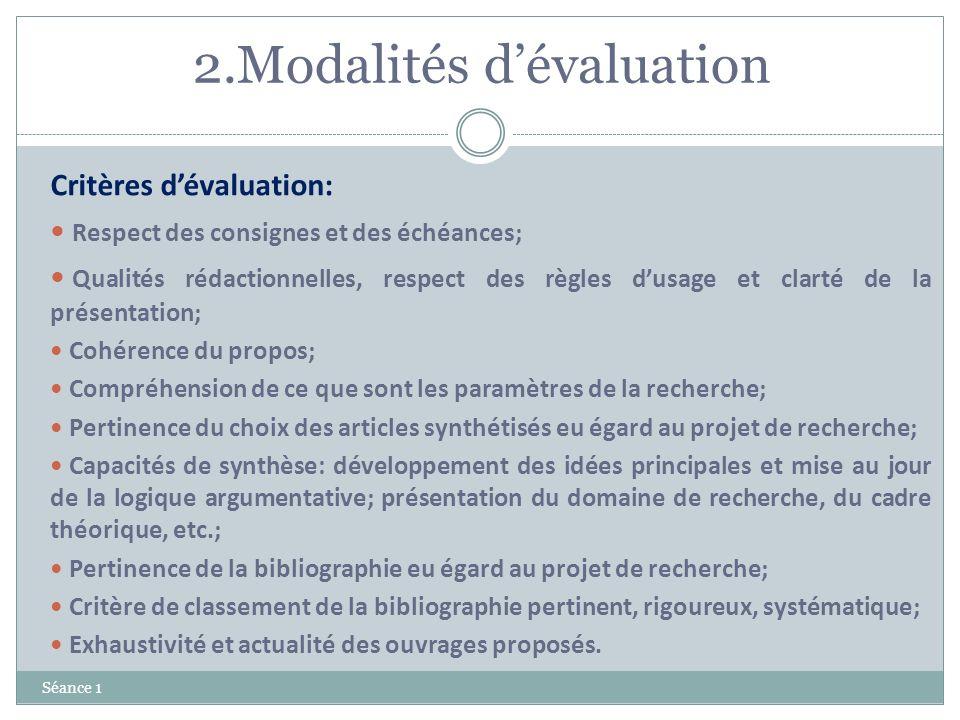 2.Modalités d'évaluation
