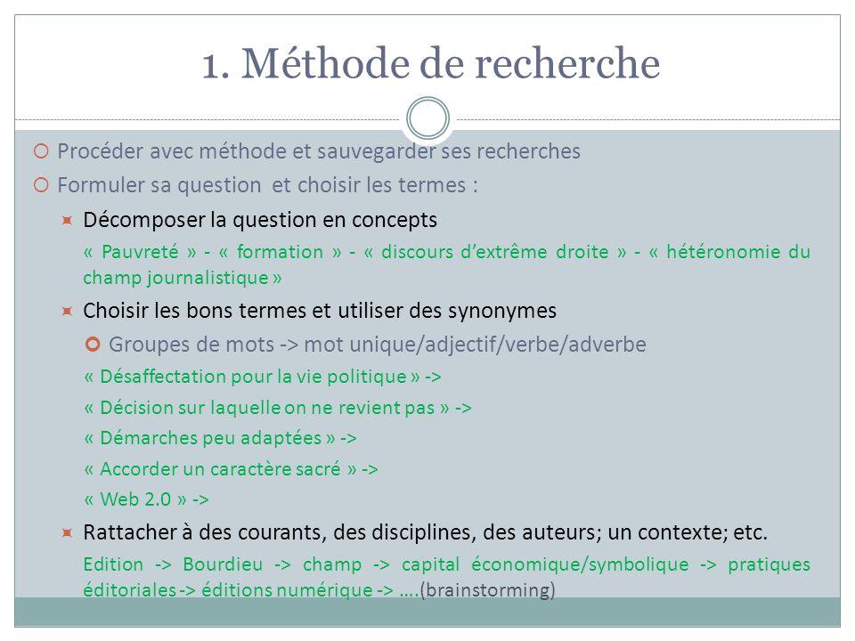 1. Méthode de recherche Procéder avec méthode et sauvegarder ses recherches. Formuler sa question et choisir les termes :