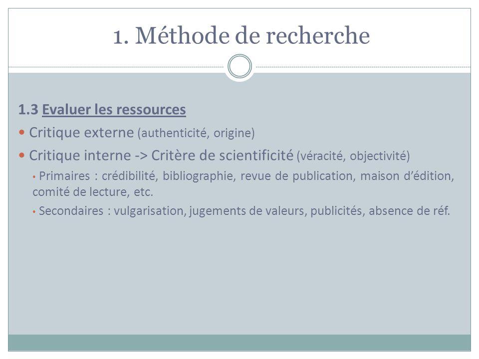 1. Méthode de recherche 1.3 Evaluer les ressources