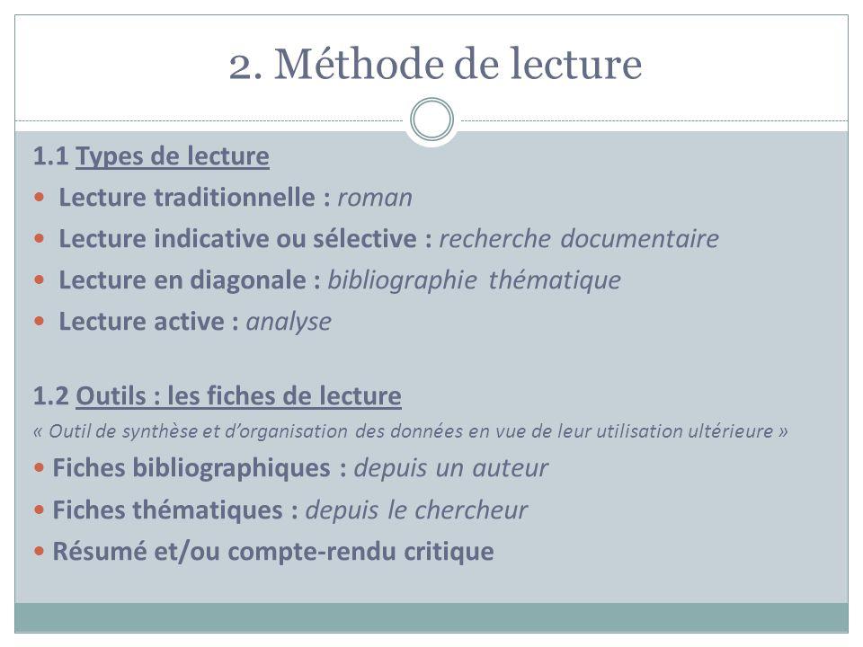 2. Méthode de lecture 1.1 Types de lecture
