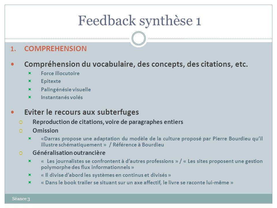 Feedback synthèse 1 COMPREHENSION