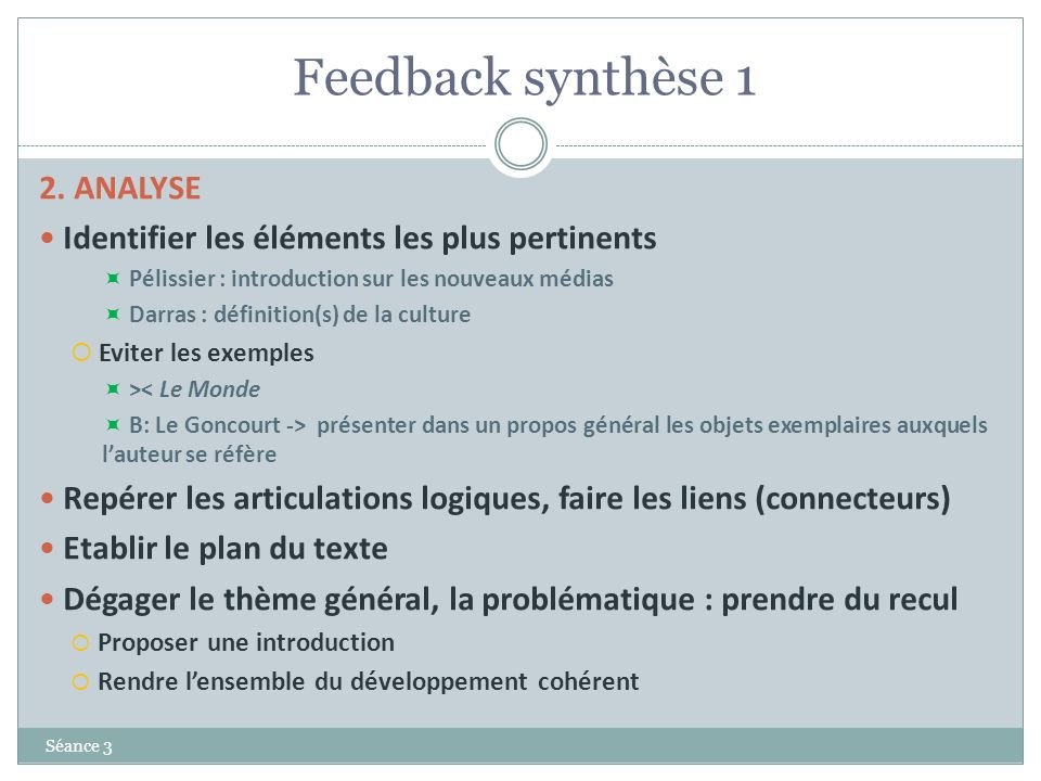 Feedback synthèse 1 2. ANALYSE