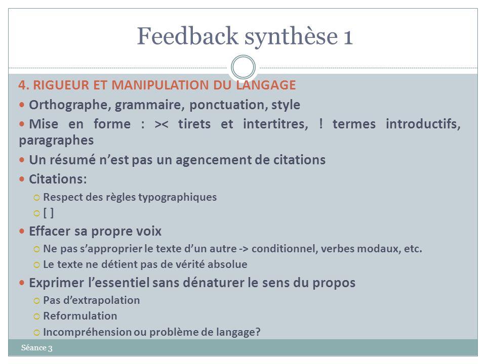 Feedback synthèse 1 4. RIGUEUR ET MANIPULATION DU LANGAGE