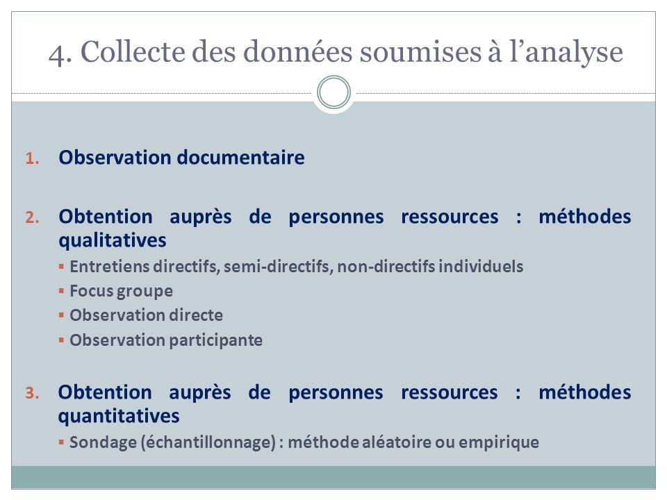 4. Collecte des données soumises à l'analyse