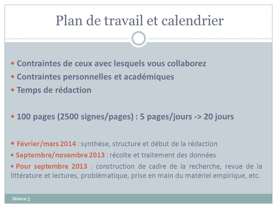 Plan de travail et calendrier