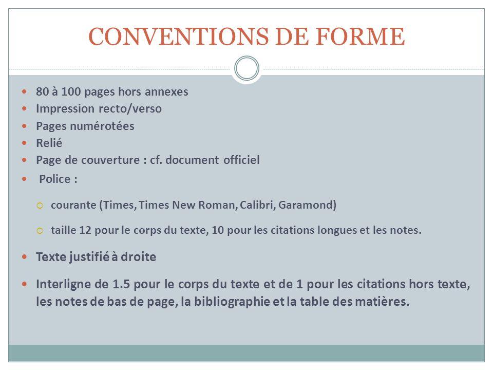 CONVENTIONS DE FORME Texte justifié à droite