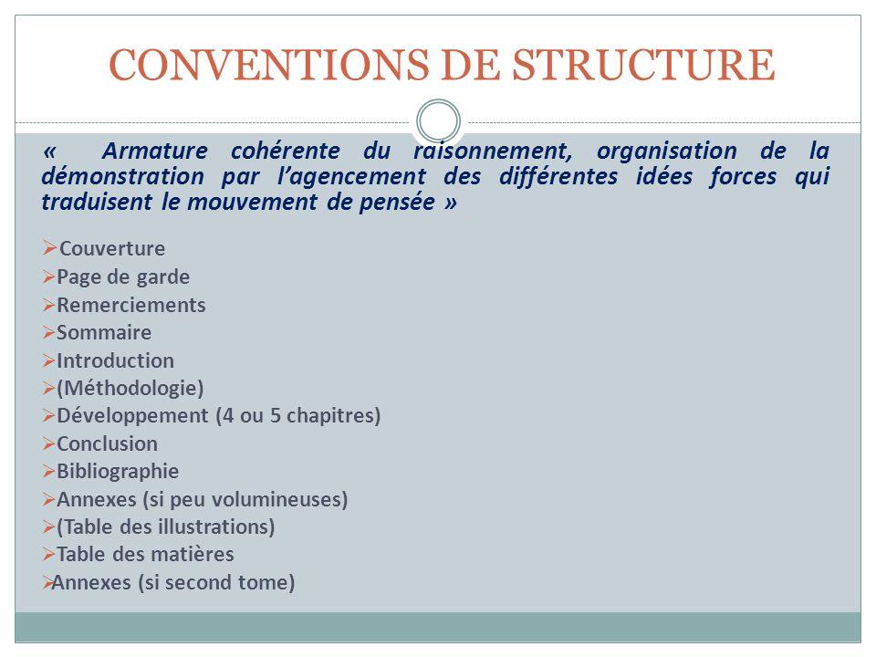 CONVENTIONS DE STRUCTURE