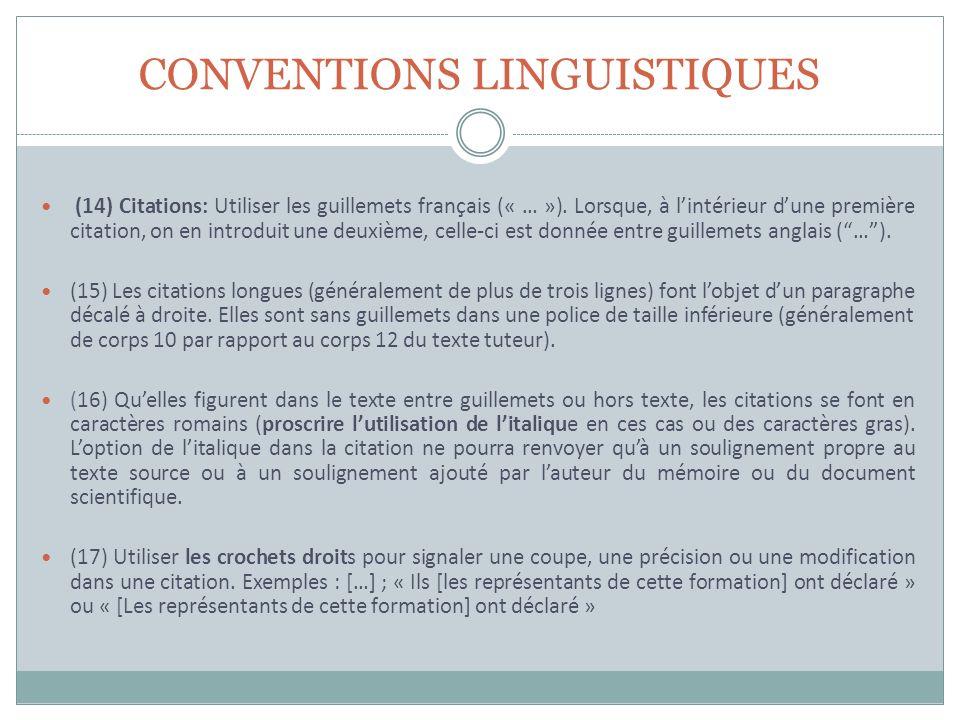 CONVENTIONS LINGUISTIQUES