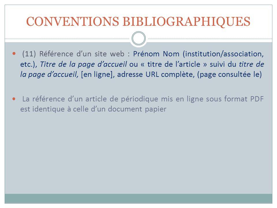CONVENTIONS BIBLIOGRAPHIQUES