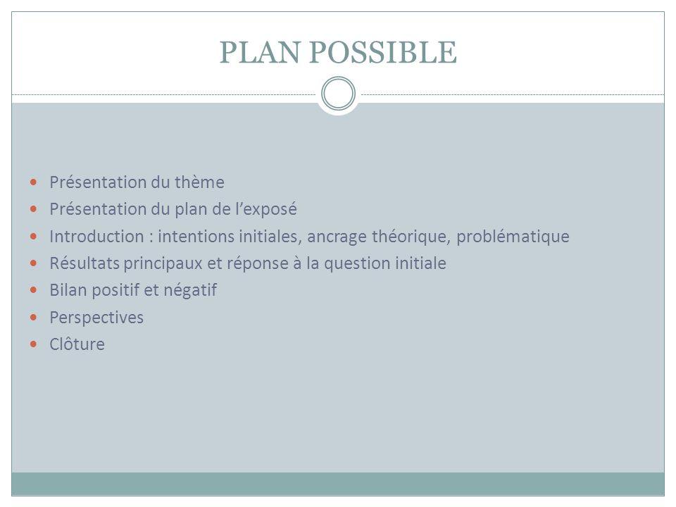 PLAN POSSIBLE Présentation du thème Présentation du plan de l'exposé