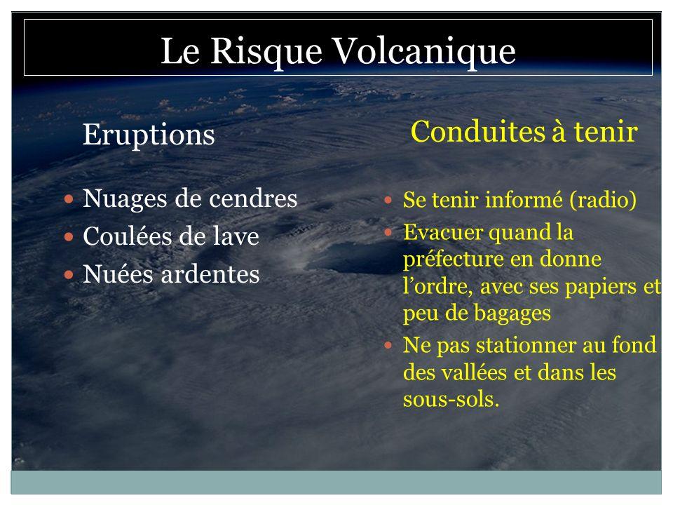 Le Risque Volcanique Conduites à tenir Eruptions Nuages de cendres
