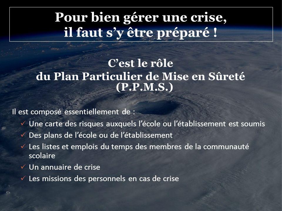 Pour bien gérer une crise, il faut s'y être préparé !
