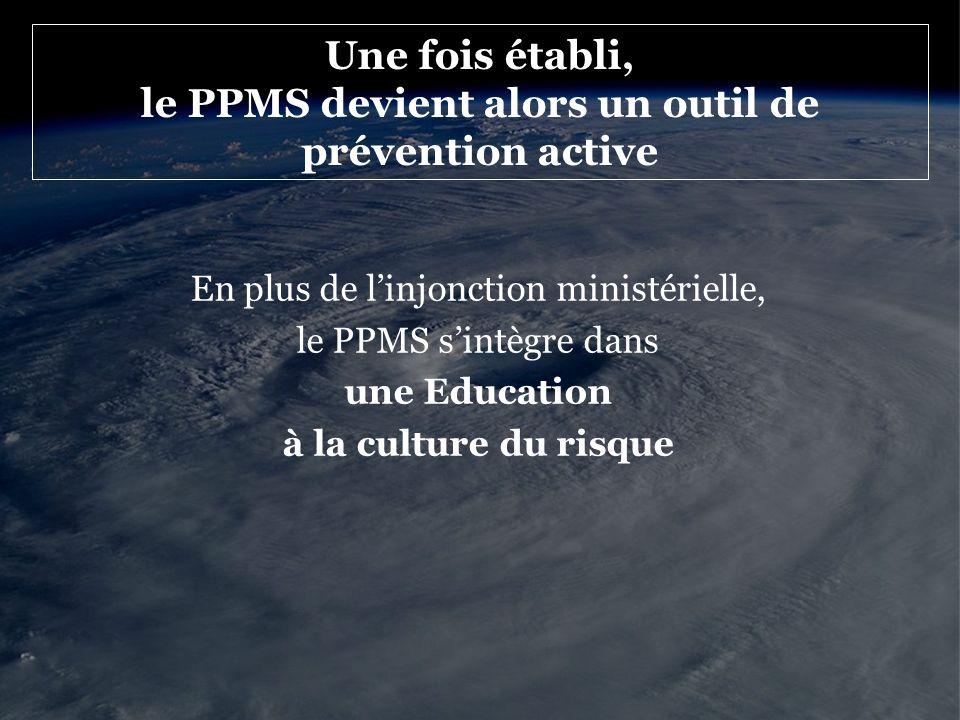 Une fois établi, le PPMS devient alors un outil de prévention active