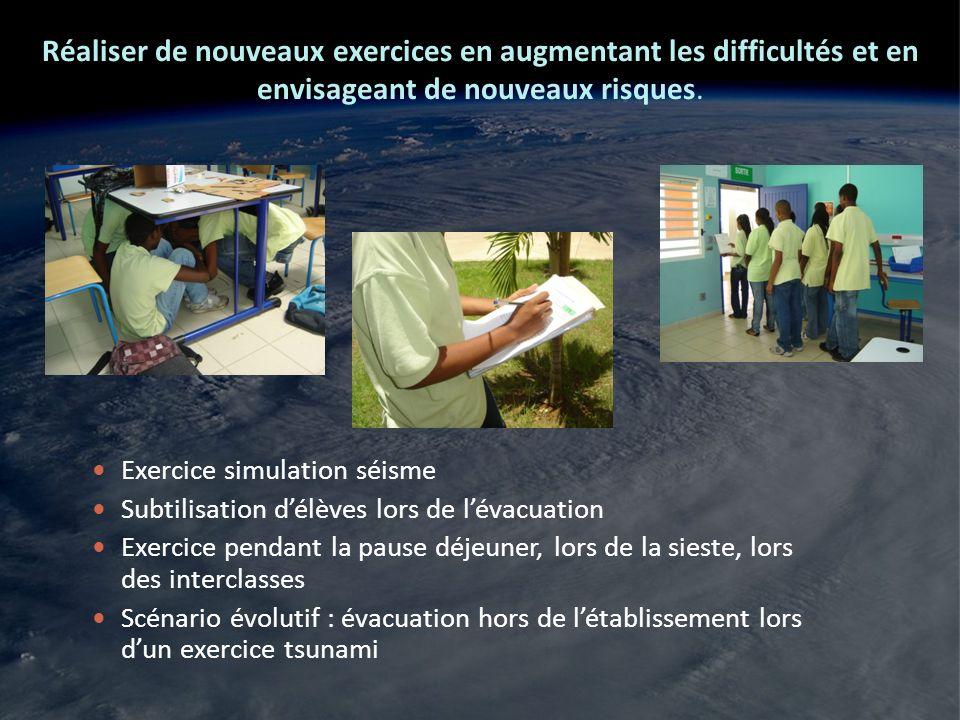 Réaliser de nouveaux exercices en augmentant les difficultés et en envisageant de nouveaux risques.