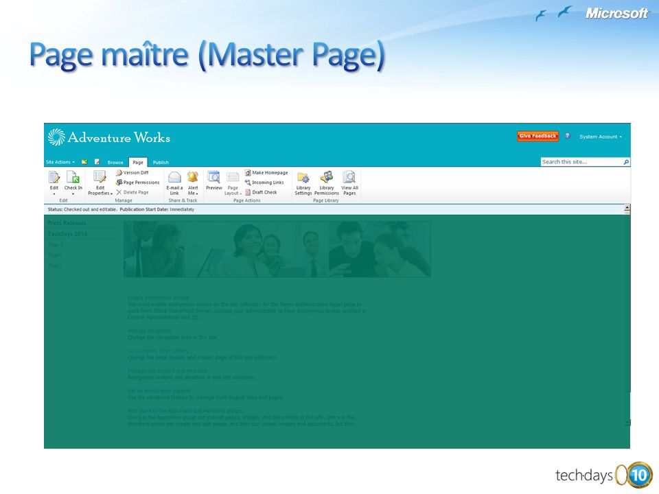 Page maître (Master Page)