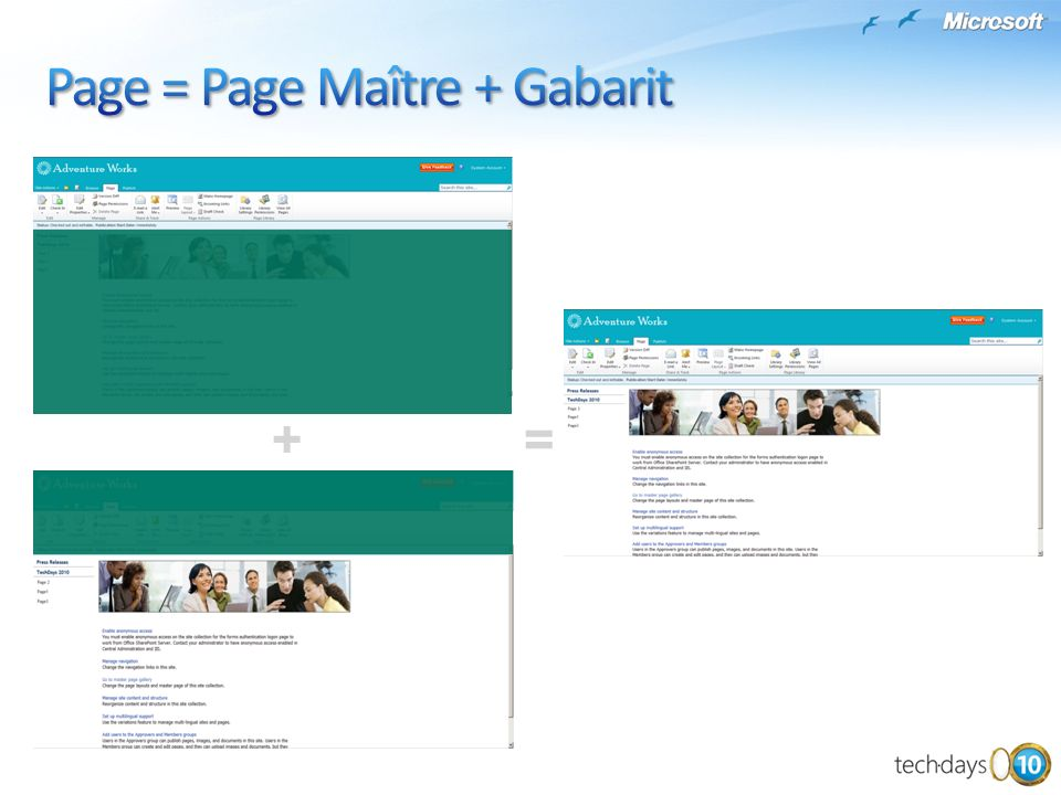 Page = Page Maître + Gabarit