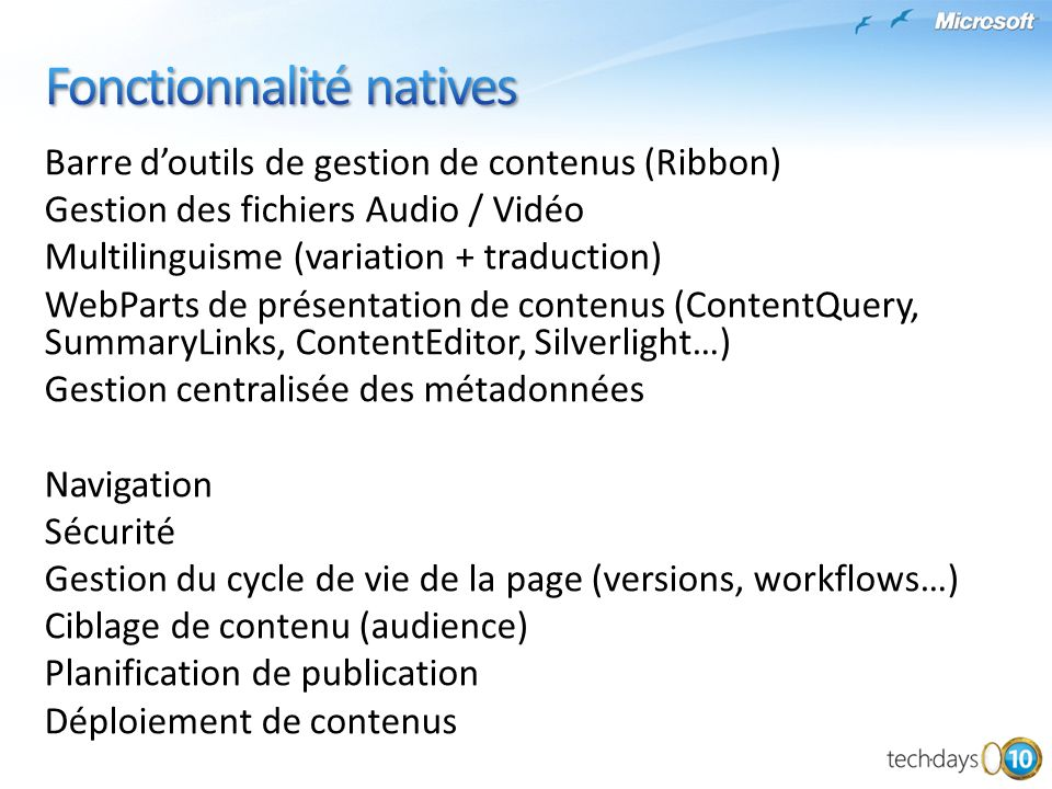 Fonctionnalité natives