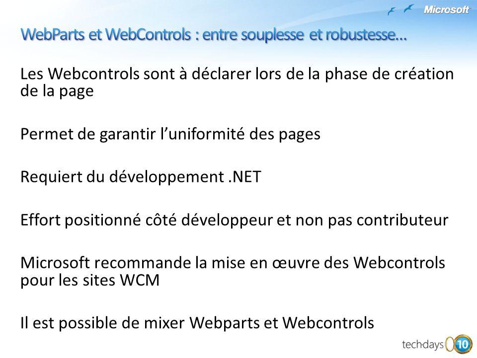 WebParts et WebControls : entre souplesse et robustesse…