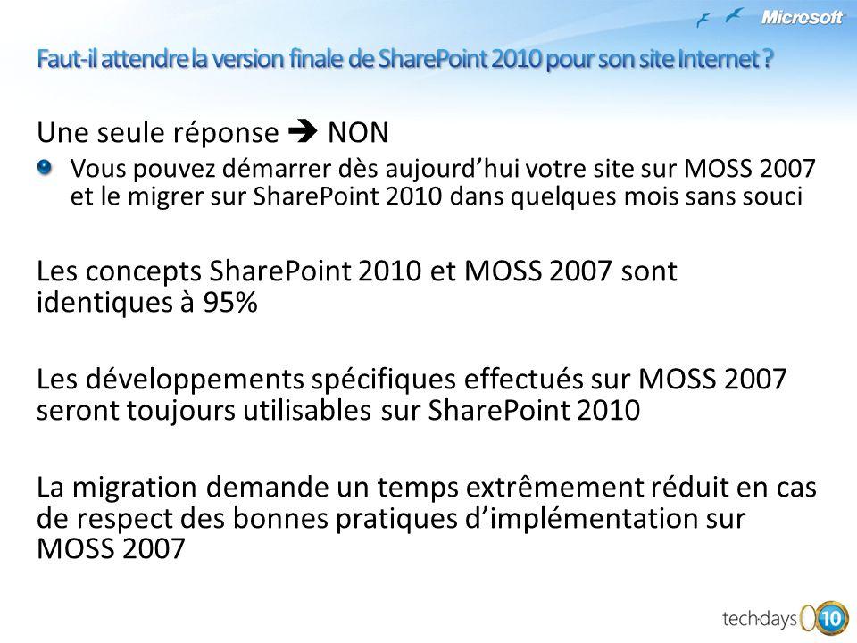 Les concepts SharePoint 2010 et MOSS 2007 sont identiques à 95%