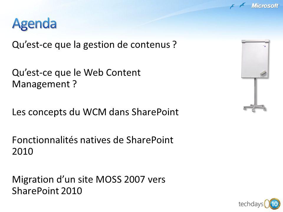 Agenda Qu'est-ce que la gestion de contenus