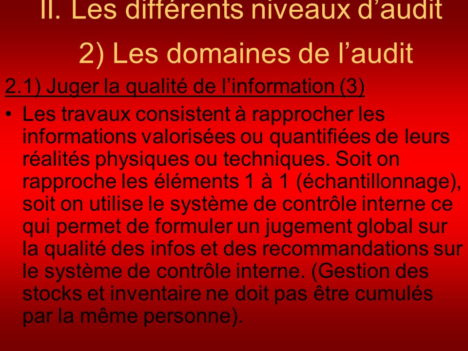 II. Les différents niveaux d'audit 2) Les domaines de l'audit