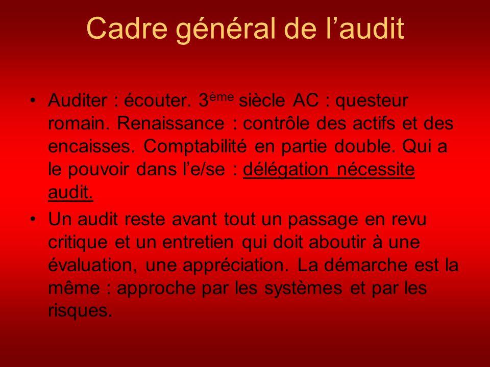 Cadre général de l'audit