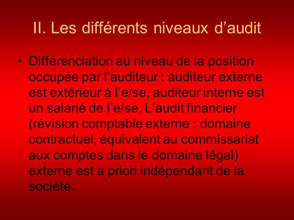 II. Les différents niveaux d'audit