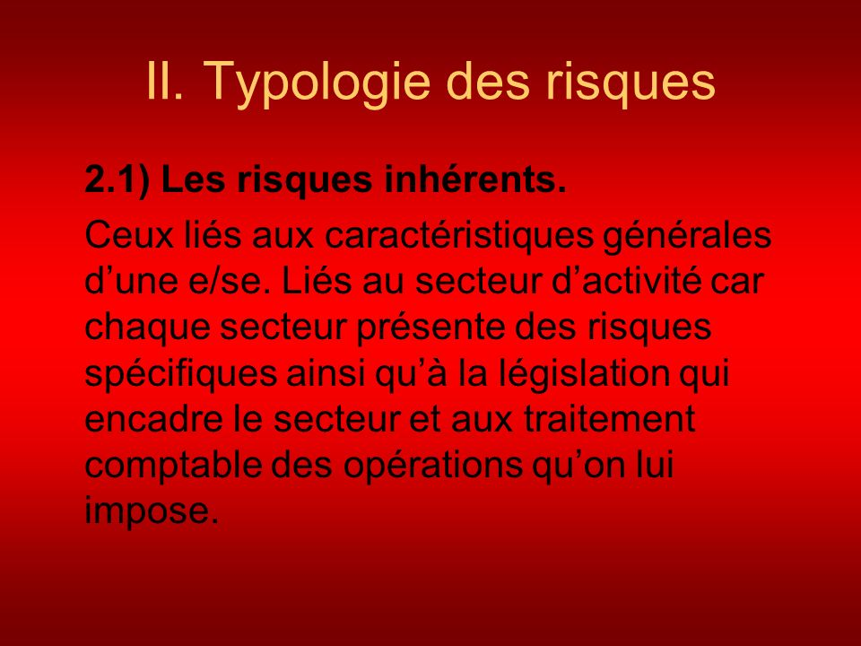 II. Typologie des risques