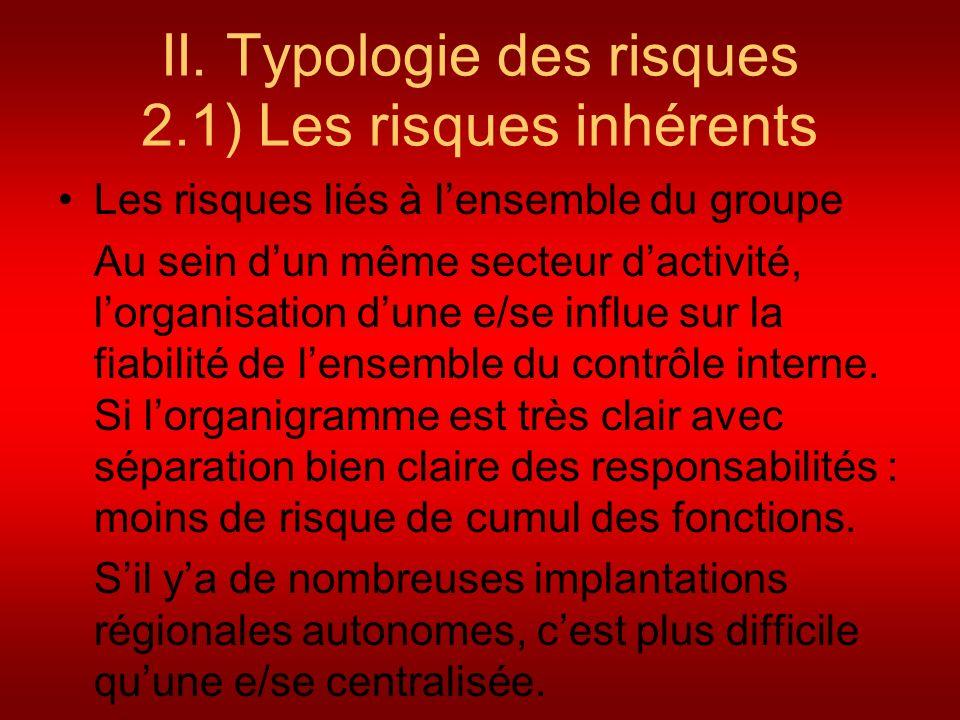 II. Typologie des risques 2.1) Les risques inhérents