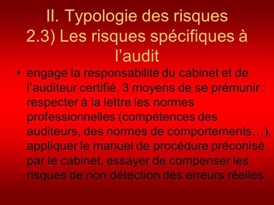II. Typologie des risques 2.3) Les risques spécifiques à l'audit