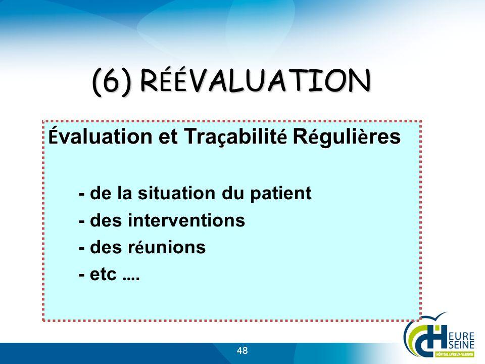 (6) RÉÉVALUATION Évaluation et Traçabilité Régulières