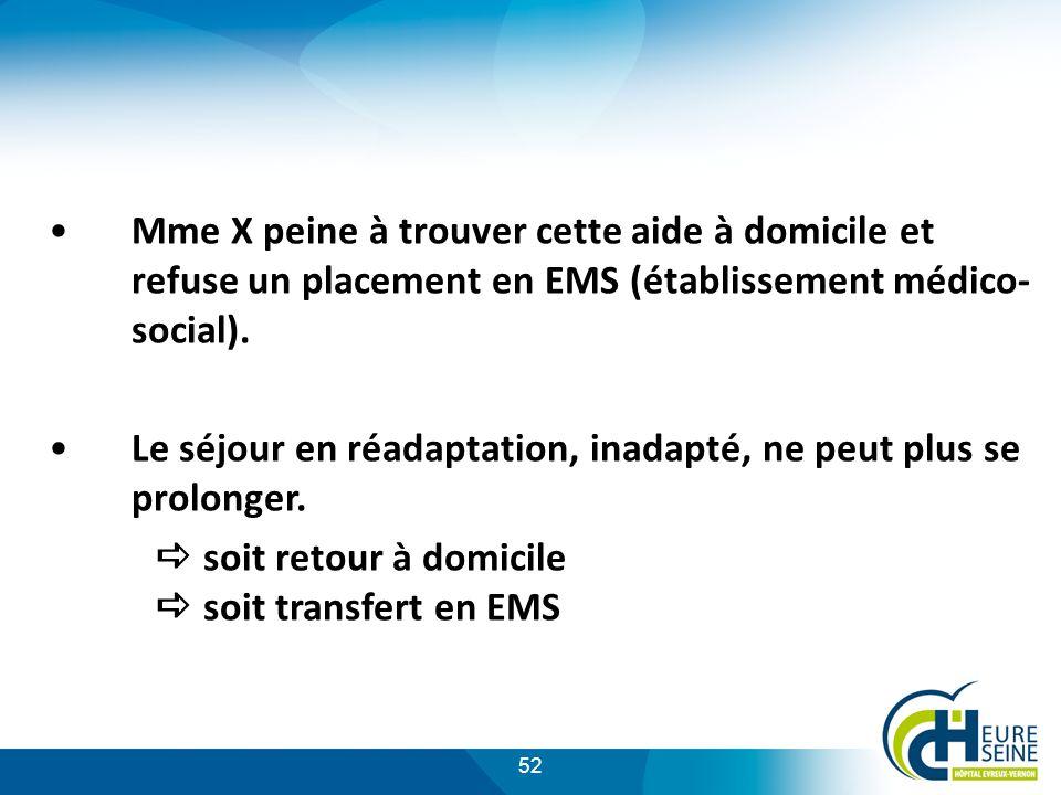 Mme X peine à trouver cette aide à domicile et refuse un placement en EMS (établissement médico-social).
