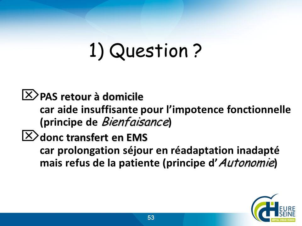 1) Question PAS retour à domicile car aide insuffisante pour l'impotence fonctionnelle (principe de Bienfaisance)