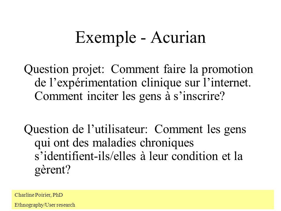Exemple - Acurian Question projet: Comment faire la promotion de l'expérimentation clinique sur l'internet. Comment inciter les gens à s'inscrire