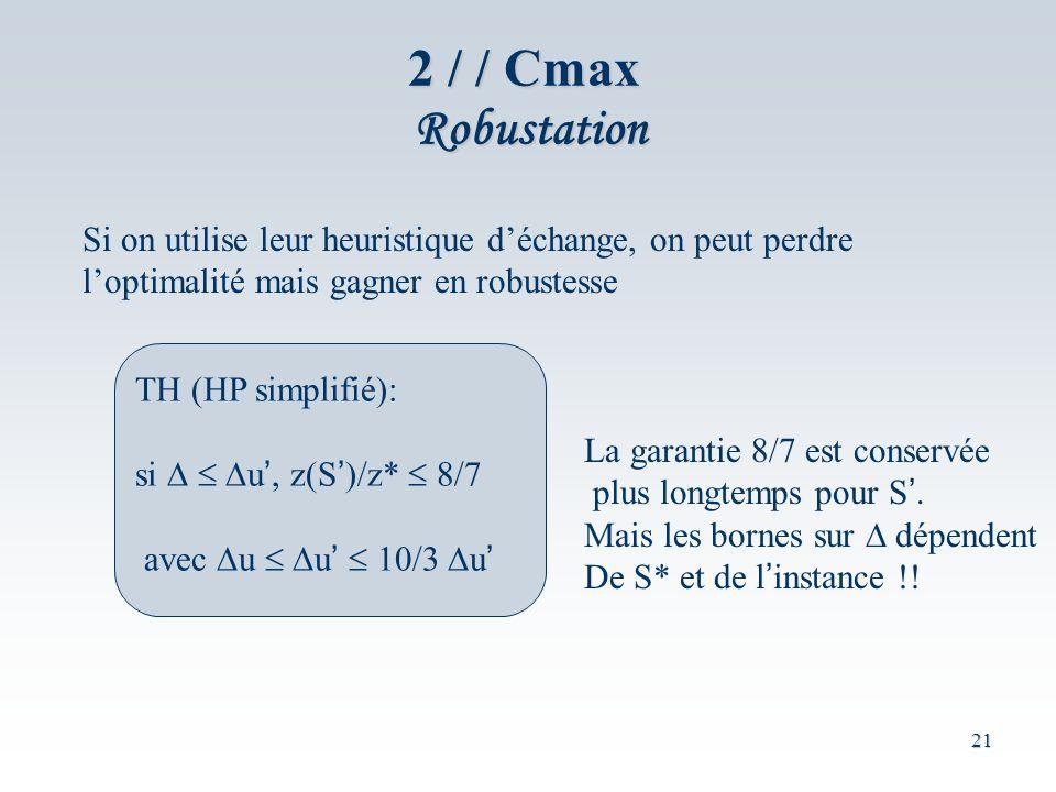 2 / / Cmax Robustation Si on utilise leur heuristique d'échange, on peut perdre. l'optimalité mais gagner en robustesse.